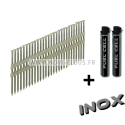 Pack 2200 clous en bande 34° 3,1x63 Annelées Inox TB + GAZ