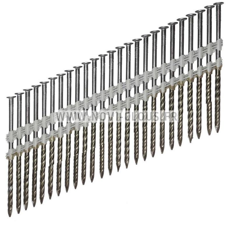 Pack 2200 clous en bande 34° 3,1x63 Annelées Inox TP + GAZ