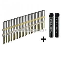 Pack pointes 20° en bande 3.1x50 mm Spiralées galva + Gaz