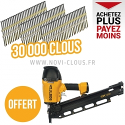 LOT 30 000 pointes en bande 20/21° + cloueur Bostitch F21PL Offert