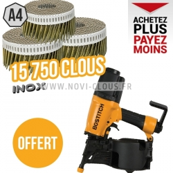 LOT BARDAGE 15750 pointes 2.3 x 55 mm Inox A4 + cloueur Bostitch N75C-2-E OFFERT