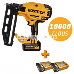 BOSTITCH BTCN120 Cloueur finition sans fil 18V 4.0Ah + 10 000 clous