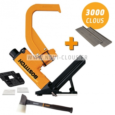 LOT BOSTITCH MIIIFN Cloueur à parquet pneumatique avec 3 000 pointes