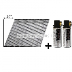 Pack pointes Paslode IM250 / IM65 A inclinées 32mm Brads Galva 16GA + Gaz