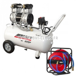 COMPRESSEUR AERFAST silencieux AC24050 Cuve 50 litres avec enrouleur tuyau 30 mètres