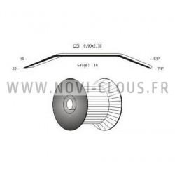 2200 Clous en bande 34° 2,8x70 Annelés acier Tête en D SANS GAZ